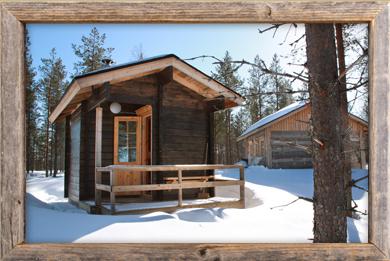 Sauna ulkoa Lapin maisemissa