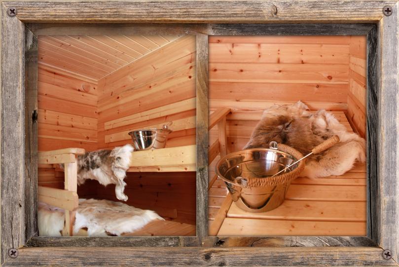 Upea sauna täynnä tunnelmaa